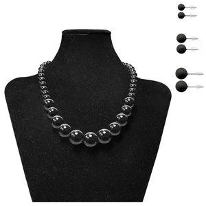 Perlenkette + 3 Paar passende Ohrstecker – Bild 3