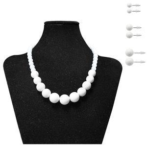 Perlenkette + 3 Paar passende Ohrstecker – Bild 4