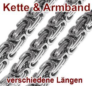 Set Königskette Armband Panzerkette Herren Herrenkette Edelstahl silber silbern – Bild 1