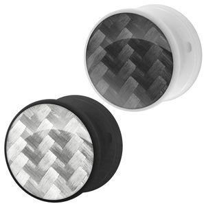 1 Tunnel Plug CARBONE Kunstoff weiß schwarz – Bild 4