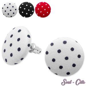 Stoffohrstecker Punkte polka dots weiß rot schwarz – Bild 1