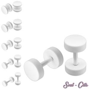 1 Paar Fake Plugs weiß 5, 6, 8, 10, 12 mm – Bild 1