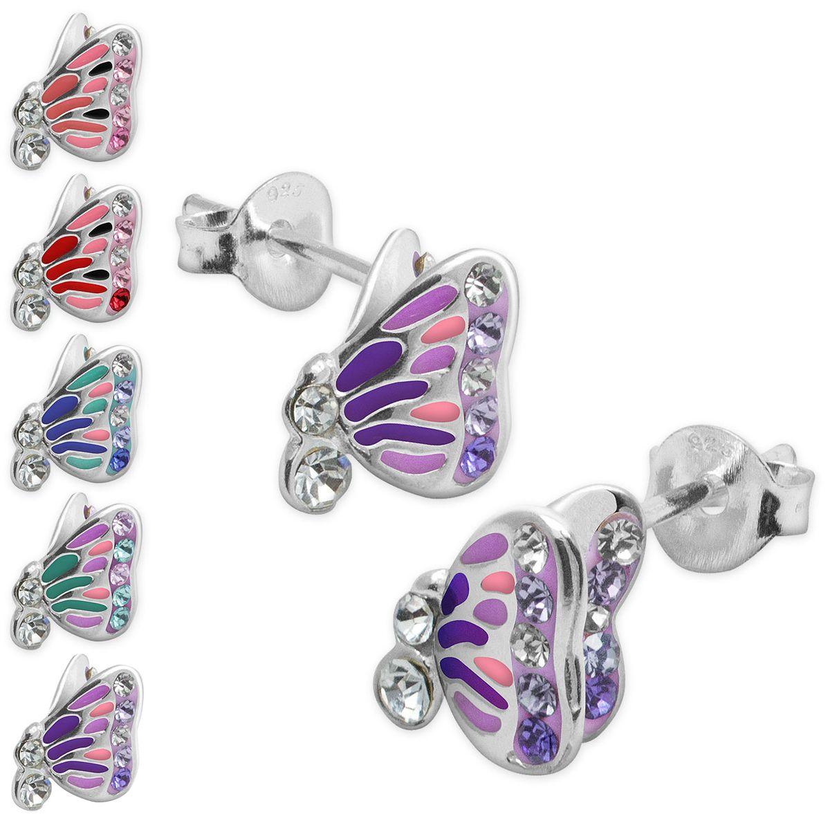 1 Paar Mädchen Ohrringe Echt Gold 585 mit farbiger lila rosa Blume Ohr Stecker