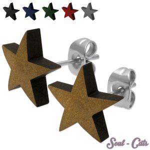 1 Paar Stern Ohrstecker aus Holz in verschiedenen Farben – Bild 1