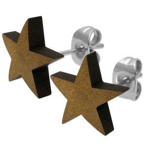 1 Paar Stern Ohrstecker aus Holz in verschiedenen Farben – Bild 6