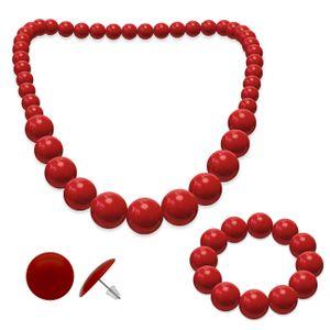SET Perlenkette + Perlenarmband + Ohrstecker  – Bild 4