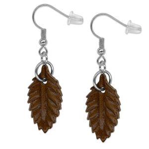 1 Paar Echt Leder Ohrringe in Blattform – Bild 4