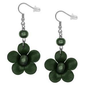 1 Paar Echt Leder Ohrringe Blumen – Bild 7