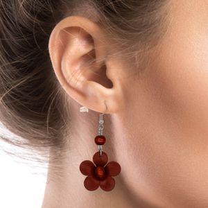 1 Paar Echt Leder Ohrringe Blumen – Bild 8