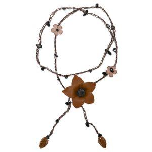 1 Leder Kette mit Blüten und Onyx – Bild 4