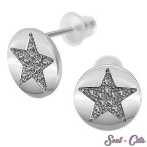 1 Paar runde Ohrstecker mit Stern Motiv