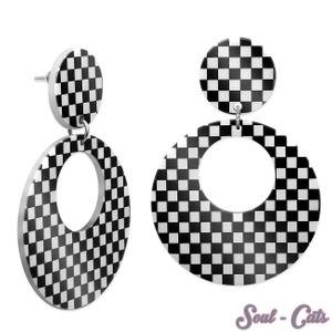 1 Paar karierte Ohrringe Loop – Bild 1