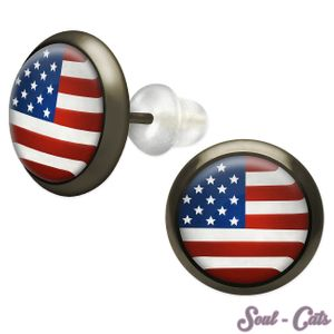 1 Paar Ohrstecker Stars and Stripes