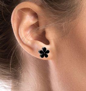 1 Paar Ohrstecker schwarze Blume – Bild 2