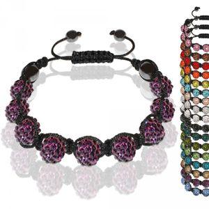 Armband Straß Glitzer Glücksbringer mit 9 Kristall Kugeln einfarbig