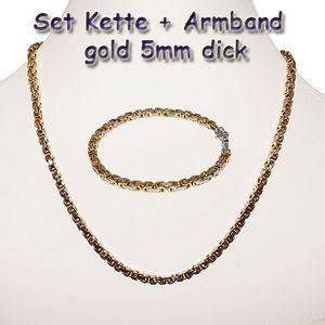 Königskette Halskette Set Armband Edelstahl gold silber schwarz lange Kette cm – Bild 12