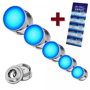 LED flesh Tunnel Plug leuchtend blinkend Edelstahl rot grün blau weiss 8-16 mm – Bild 2