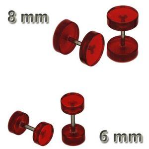 1 Paar Fakeplugs Plug Fake Ohrstecker Ohrringe neon rot schwarz weiß lila orange – Bild 7