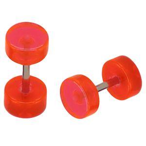 1 Paar Fakeplugs Plug Fake Ohrstecker Ohrringe neon rot schwarz weiß lila orange – Bild 13