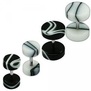 2 Stück Fakeplugs Fake Plug Fakeplug marmoriert Piercing Fake weiß schwarz – Bild 1