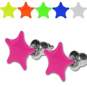 1 Paar Ohrstecker Neon Farben UV Aktiv Stern Sterne pink gelb grün weiß blau – Bild 1