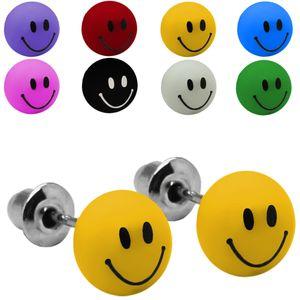 1 Paar Ohrstecker Ohrringe rund Smilie Smiley schwarz weiß pink rot gelb blau – Bild 1