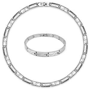 Set Edelstahl Collier und Armband Kette Ankerkette Halskette Gliederkette silber matt glänzend – Bild 6