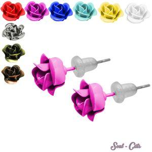 1 Paar hübsche Ohrstecker in Rosenform pink gelb blau schwarz weiß rot Rose