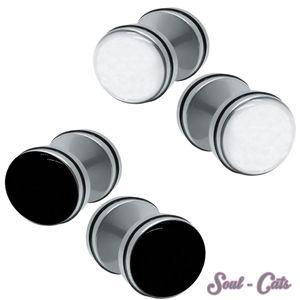 2 Stück Fake Plug Fakeplugs schwarz weiß Gummiring