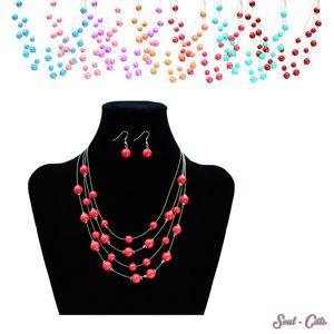 1 Set Perlenkette mit Ohrringen Kette Perlen rosa lila türkis weiss braun pink