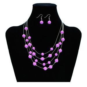 1 Set Perlenkette mit Ohrringen Kette Perlen rosa lila türkis weiss braun pink – Bild 7
