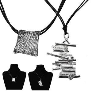 1 elegante Kette mit silbernen Anhänger Lederband schwarz silber – Bild 1
