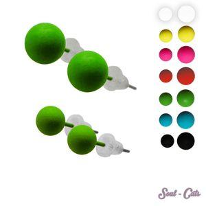 1 Paar süsse Ohrstecker in Kugelform Kugel gelb schwarz blau grün pink rot – Bild 1