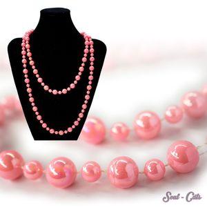 1 schöne Perlenkette Kette in Rosa – Bild 1