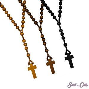 Rosenkranz aus Holz in drei versch. Farben braun schwarz Holzperlen Kette Kreuz – Bild 1