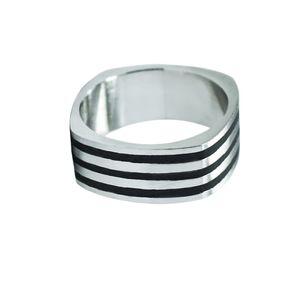 Ein Ring Edelstahl Silber zeitlos muster schlicht schwarz – Bild 4