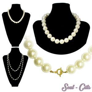 hübsche Kette Perlenkette Perlen Perlmutt schlicht zeitlos glänzend weiss creme – Bild 1