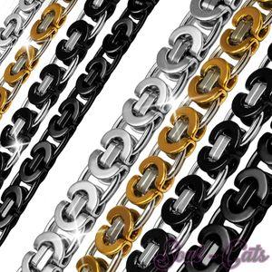 flache Königskette Halskette Panzerkette Herren Edelstahlkette Armband silber – Bild 1