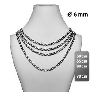 flache Königskette Halskette Panzerkette Herren Edelstahlkette Armband silber – Bild 4