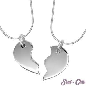 2 in 1 Herz Silber Anhänger Liebesherz  Freundschaftsherz zumTeilen 925 echt – Bild 1
