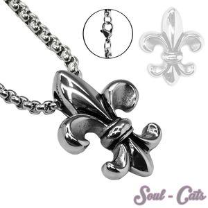 Kettenanhänger französische Lilie Fleur de lys Anhänger Edelstahl Symbol silbern