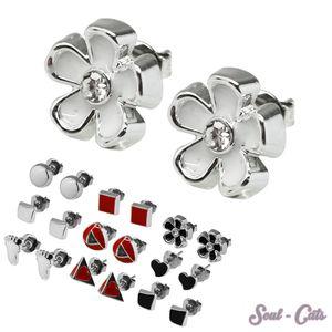 1 Paar trendige Ohrstecker viele Modelle rot weiß schwarz silbern Ohrschmuck – Bild 1