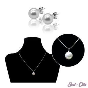 1 Set o. einzeln Perlenkette mit Perlenohrsteckern Kette Ohrstecker Perle Anhänger – Bild 1