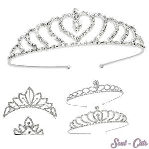 1 wunderschönes Diadem Straßsteine Braut Kopfschmuck Haarreif Krone silber – Bild 1