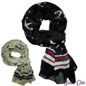 Ein maritimes XXL Tuch Halstuch Schal Anker Punkte schwarz beige Marinelook