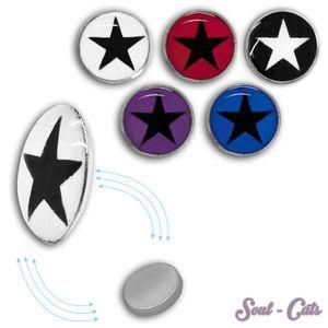 1 Paar Magnet Fake Plug mit Stern Expander pink schwarz rot lila blau Kinder – Bild 1