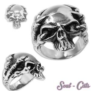1 Edelstahl Ring Totenkopf skull Biker Schädel Herren gothik Skelett death massiv – Bild 1