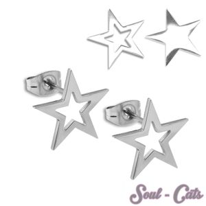 1 Paar trendige Ohrstecker Edelstahl Stern – Bild 1