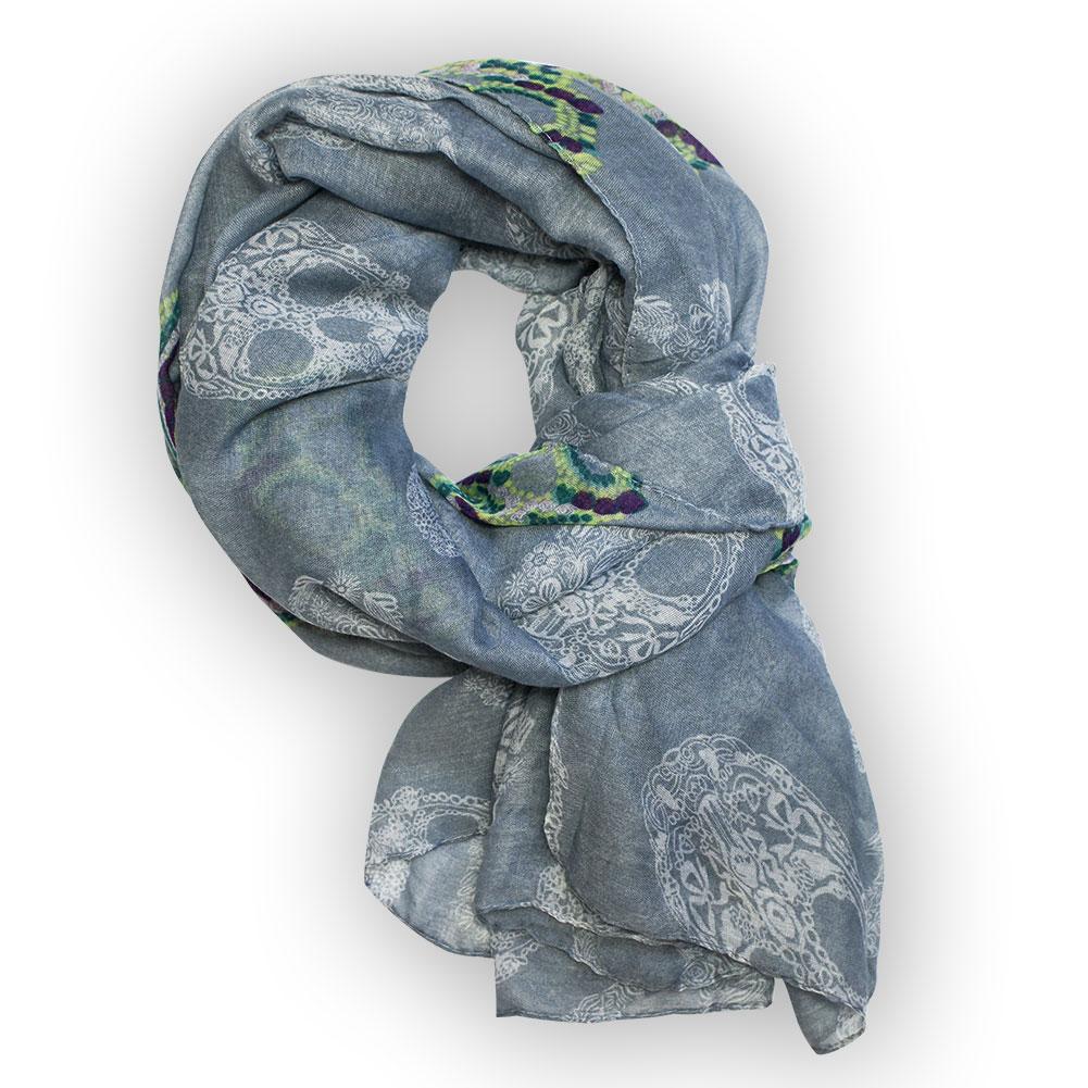 XXL Tuch mit Totenköpfen Skull Totenkopf Schal Chiffon Stola Halstuch weiß blau