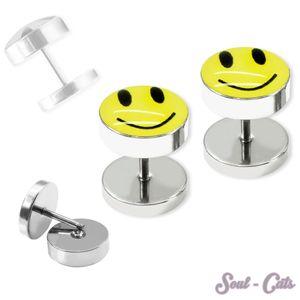 1 Paar Edelstahl Fakeplugs Smilie